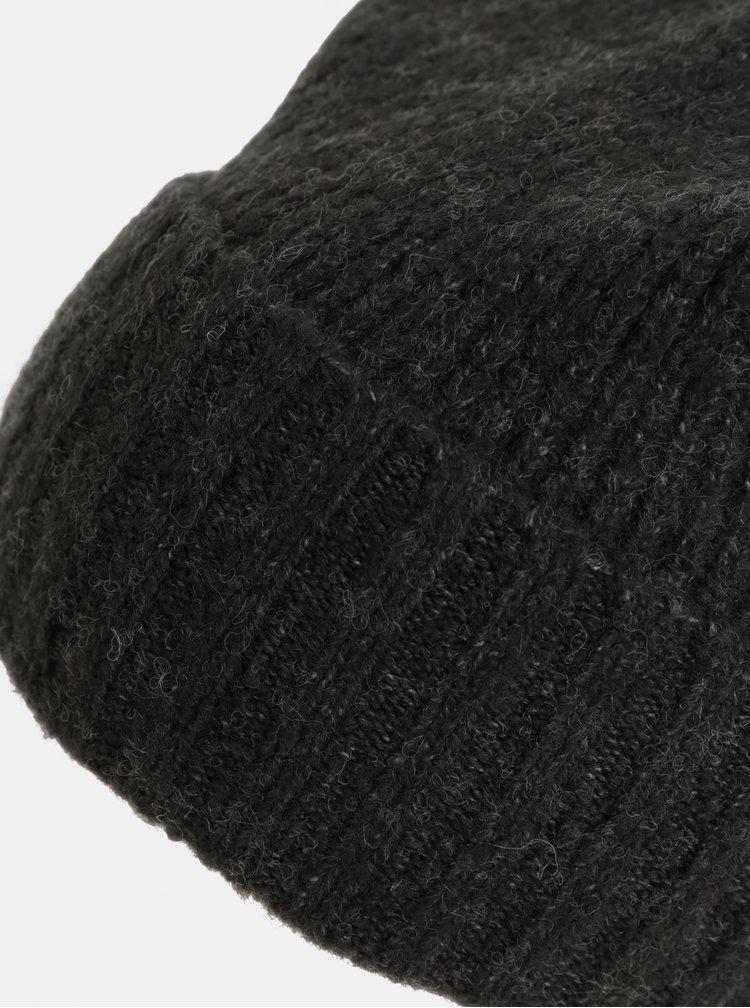 Tmavosivá melírovaná čiapka s brmbolcom a s prímesou vlny Pieces Diana
