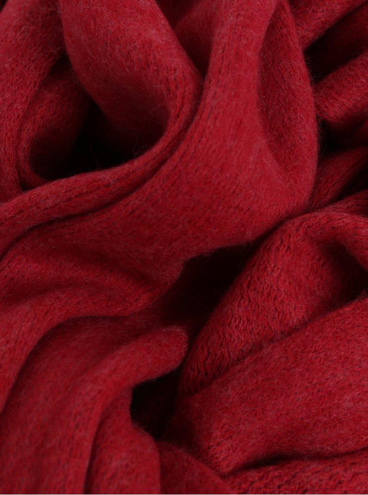 Červená šála s třásněmi  Pieces Drace