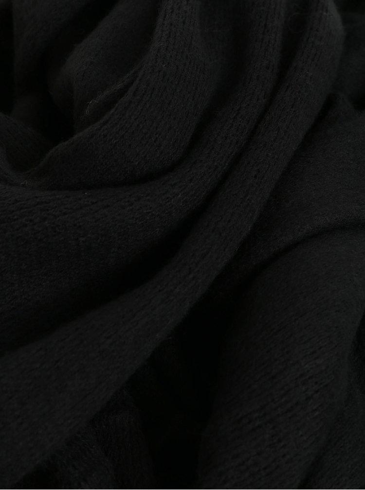 Černá šála s třásněmi Pieces Drace