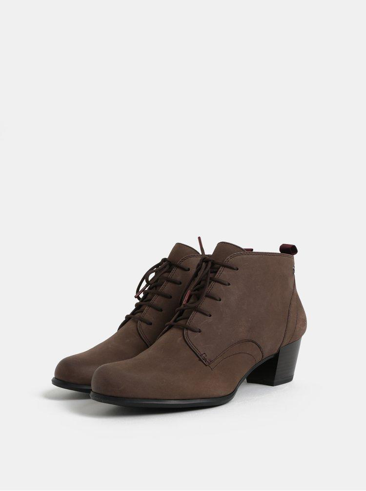 Hnědé kožené kotníkové boty na podpatku Tamaris