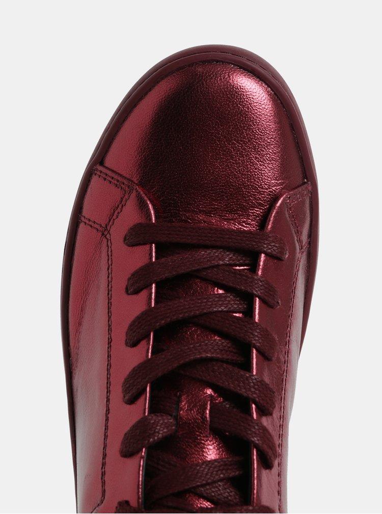 Vínové dámské kožené metalické tenisky Vagabond Zoe