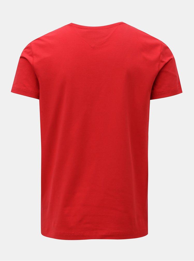 Červené pánske slim fit basic tričko Tommy Hilfiger