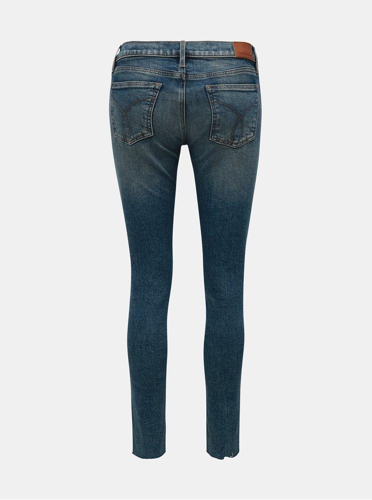 Modré skinny džíny s potrhaným efektem Calvin Klein Jeans