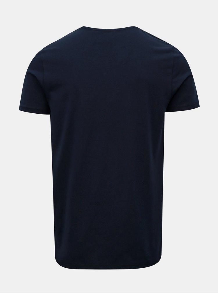 Tmavě modré muscle fit basic tričko Burton Menswear London