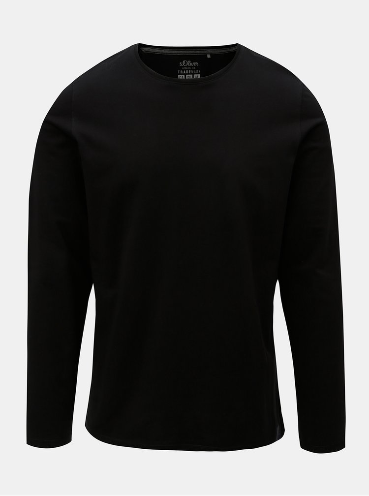 Tricou barbatesc negru cu maneci lungi S.Oliver