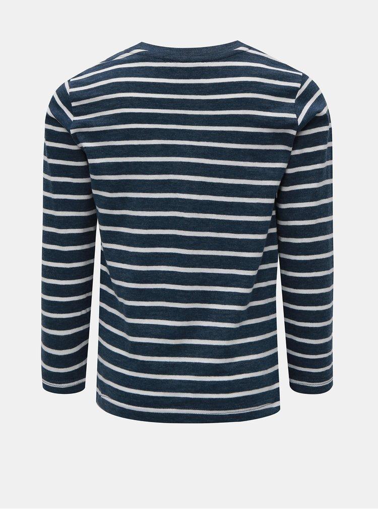 Bílo-modré klučičí pruhované tričko s potiskem Blue Seven