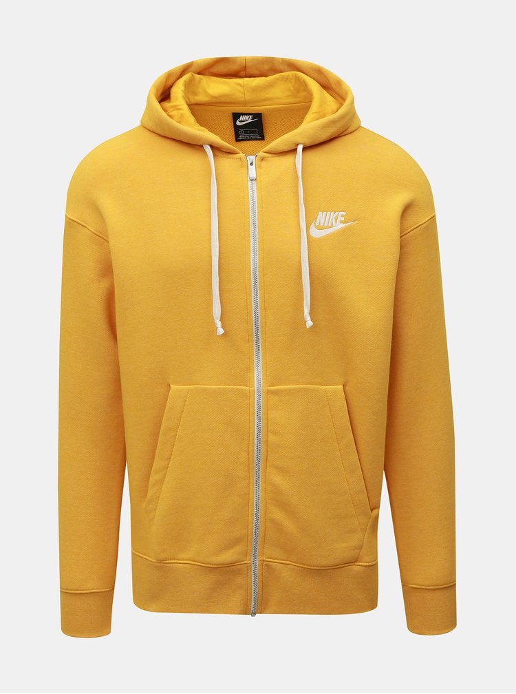 Žlutá pánská mikina na zip s výšivkou Nike Heritage