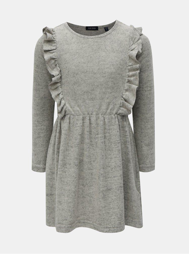 Šedé žíhané šaty s volány Blue Seven