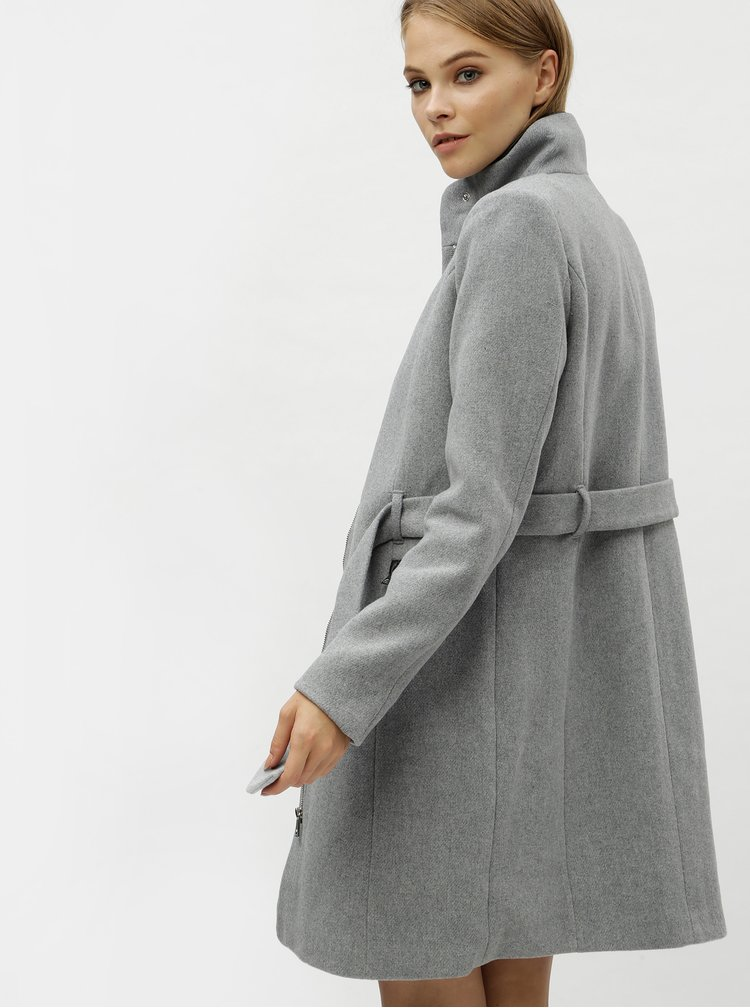 Šedý kabát s příměsí vlny VERO MODA Bessy