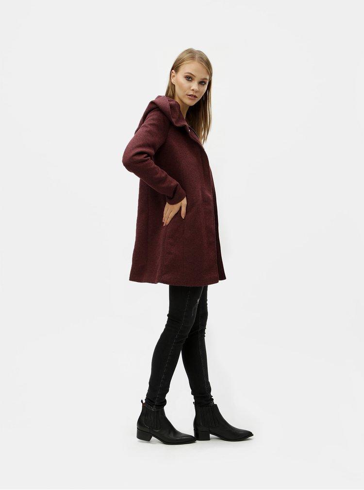 Vínový melírovaný tenký kabát s kapucňou ONLY Sedona