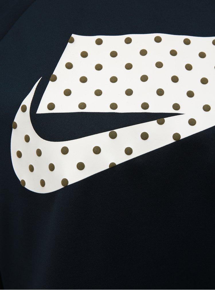 Tmavomodrá voľná krátka mikina s potlačou Nike