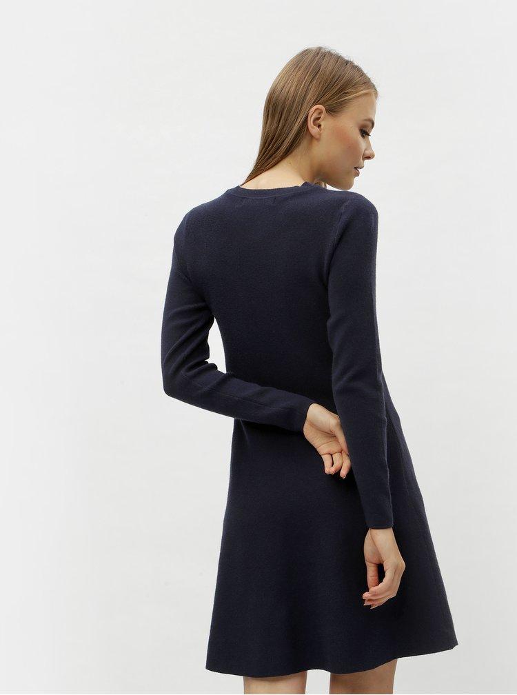Tmavě modré svetrové šaty s dlouhým rukávem VERO MODA Nancy