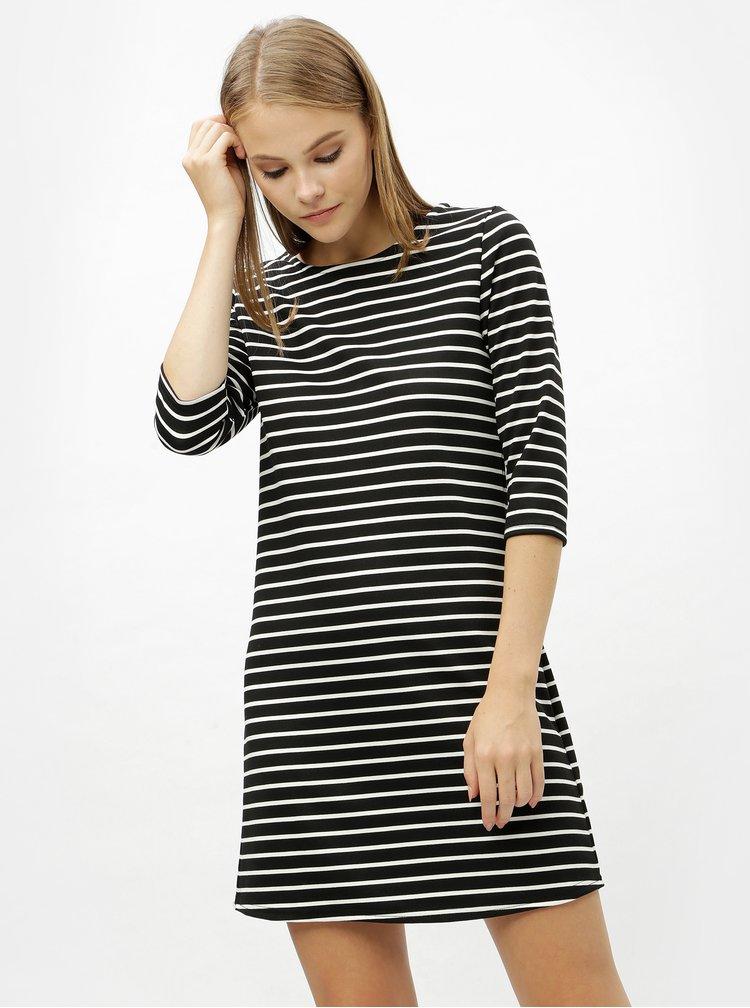 Bílo-černé pruhované šaty s 3/4 rukávem ONLY Brilliant