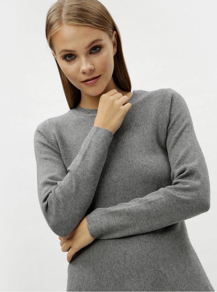 Rochie tricotata gri melanj cu maneci lungi VERO MODA Nancy