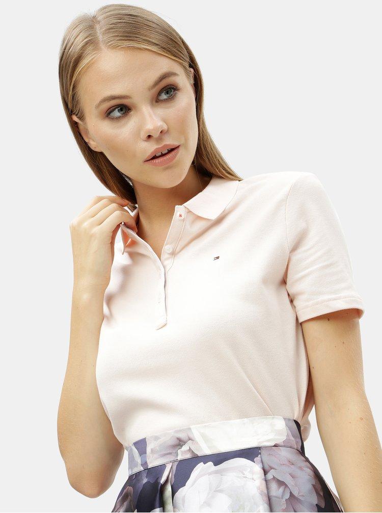 Světle růžové dámské basic polo tričko Tommy Hilfiger