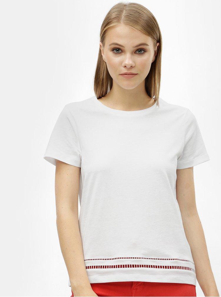 Bílé dámské tričko s děrovaným vzorem Tommy Hilfiger Dechelle