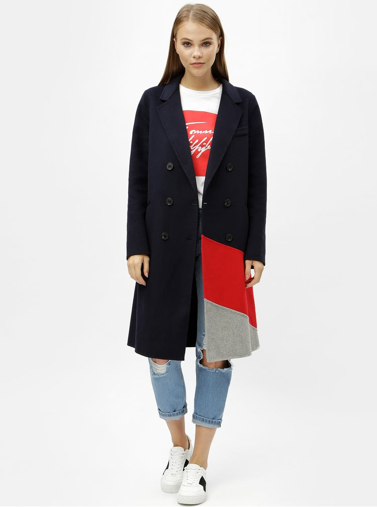Modrý dámsky tenký vlnený kabát Tommy Hilfiger