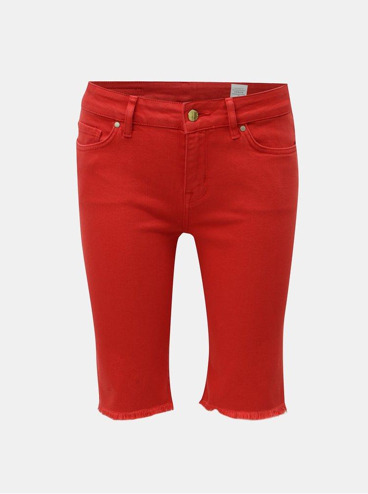 Červené dámské džínové skinny kraťasy Tommy Hilfiger Venice