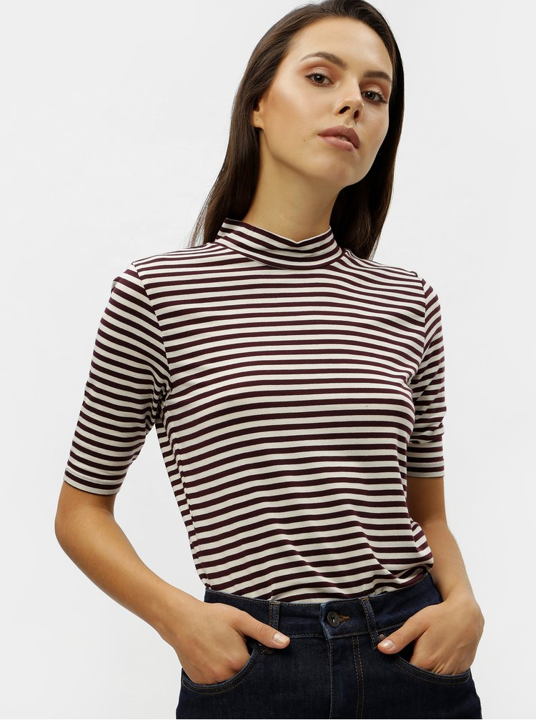 Béžovo-vínové pruhované basic tričko se stojáčkem VERO MODA Ecie