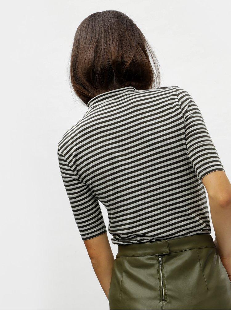Zeleno-šedé pruhované basic tričko se stojáčkem VERO MODA Ecie
