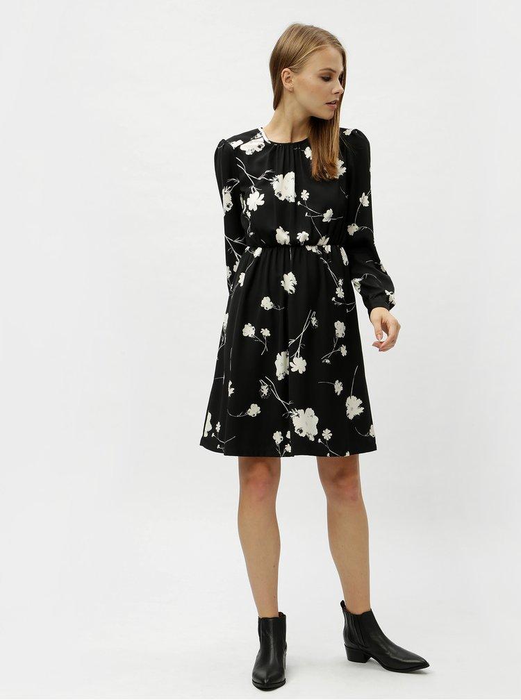 Černé květované šaty s dlouhým rukávem VERO MODA Zitta