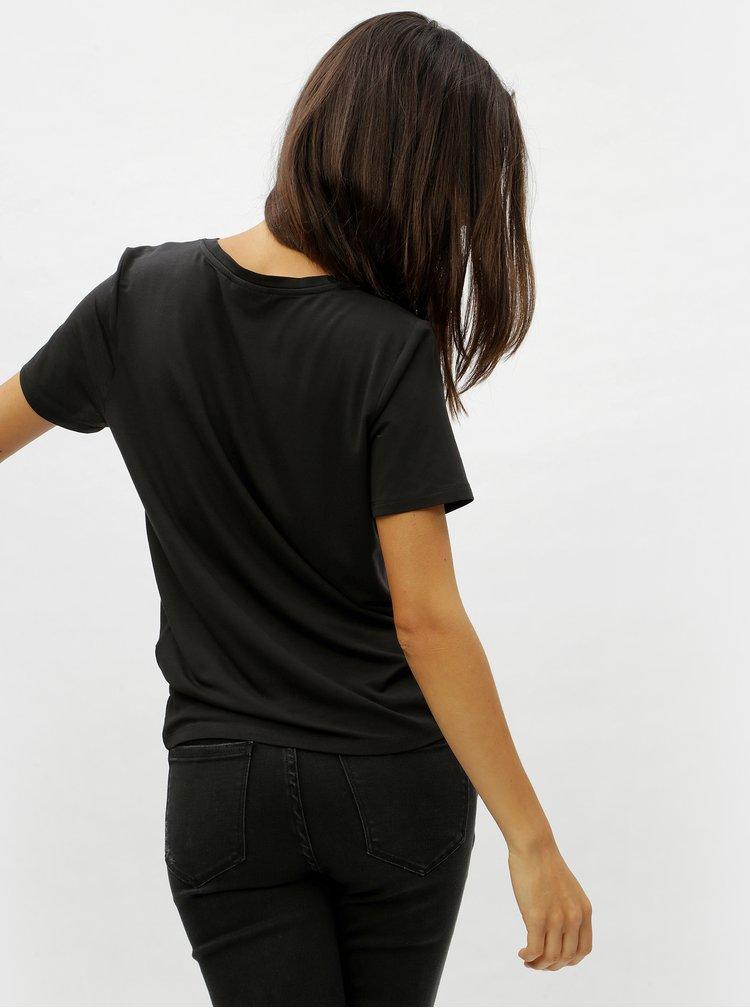 Tricou basic negru cu decolteu in V VERO MODA Eva