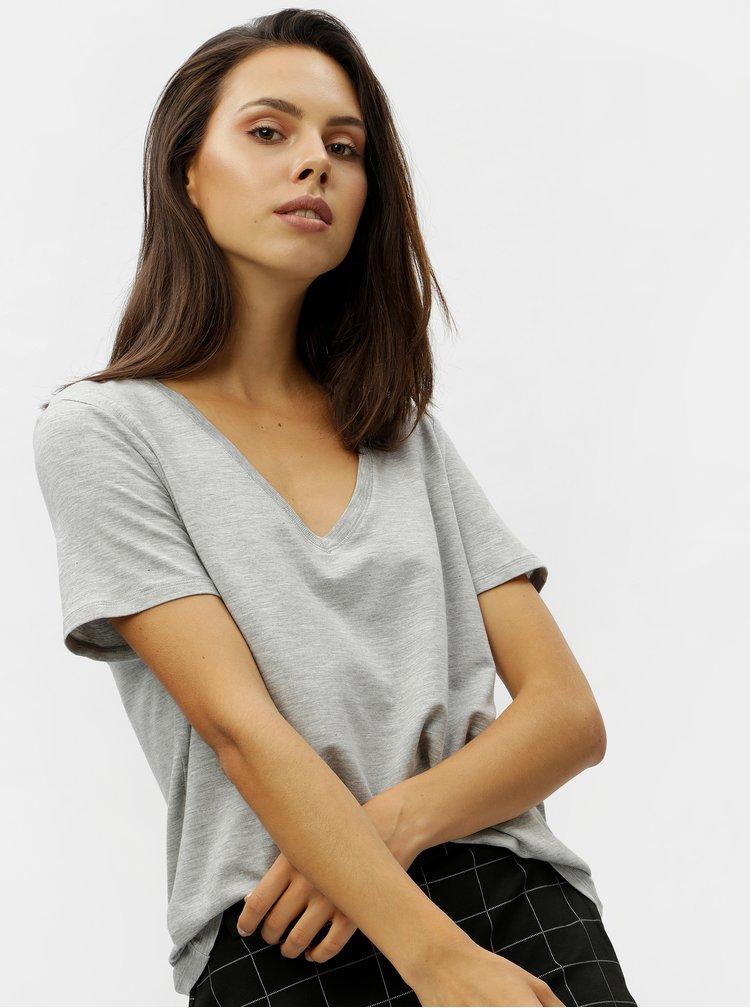 Šedé žíhané basic tričko s véčkovým výstřihem VERO MODA Eva