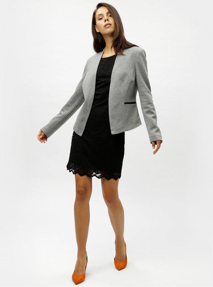 Sivé melírované sako s vreckami VERO MODA Gail