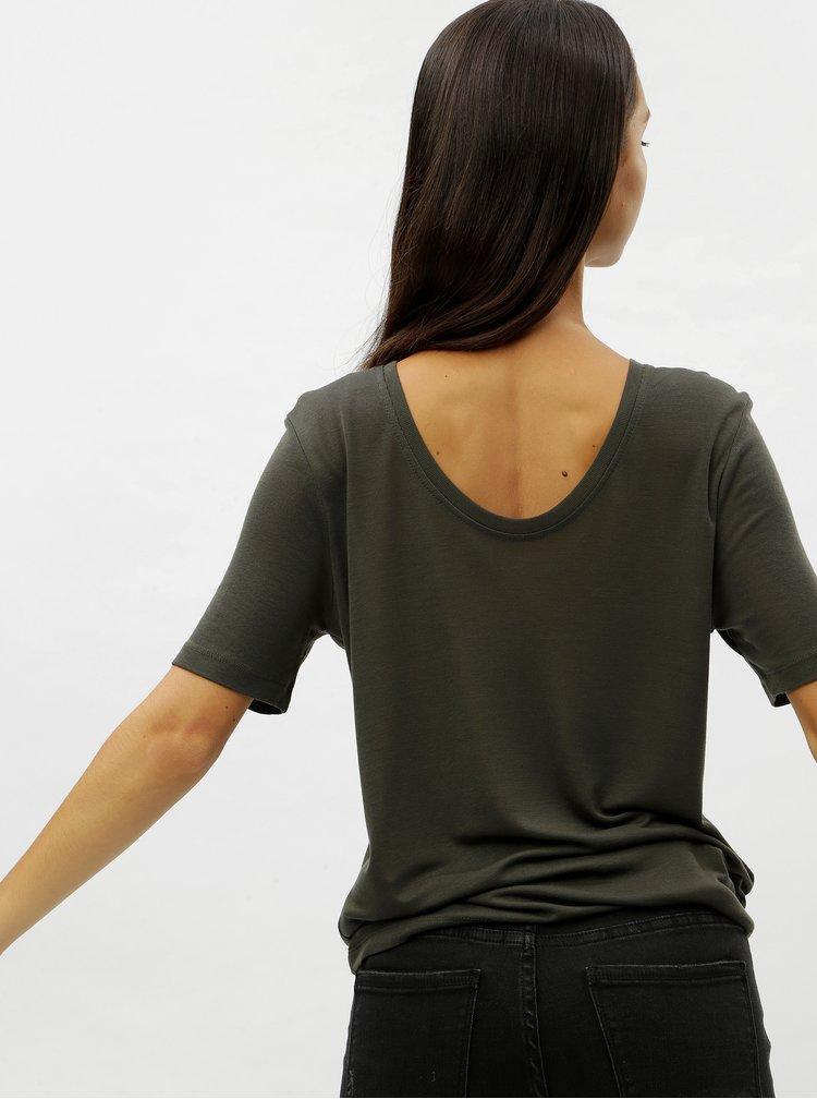 Tmavě zelené basic tričko s kulatým výstřihem VERO MODA Ecie