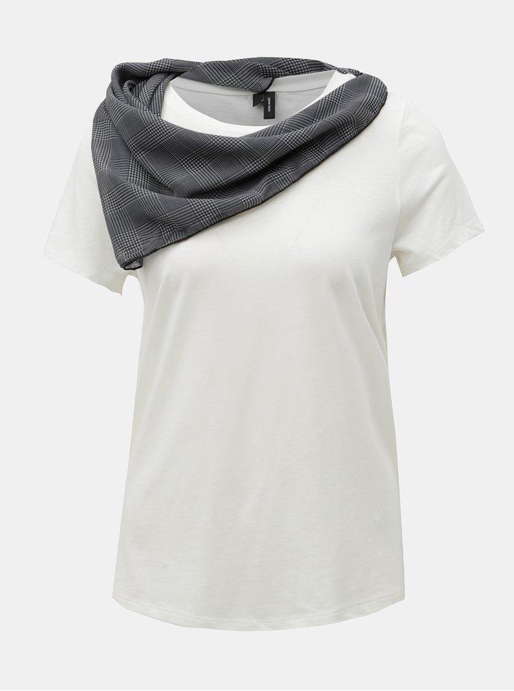 Bílé tričko s kostkovaným šátkem VERO MODA Scarf