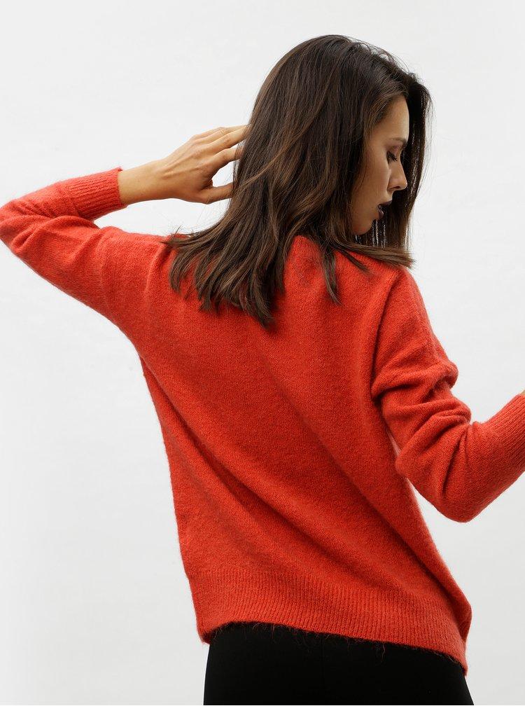 Červený vlněný volný svetr Moss Copenhagen
