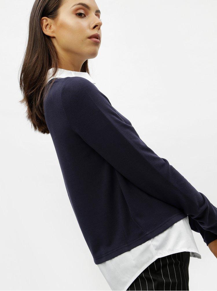 Tmavě modrý svetr s všitou košilovou vsadkou VERO MODA Jolene