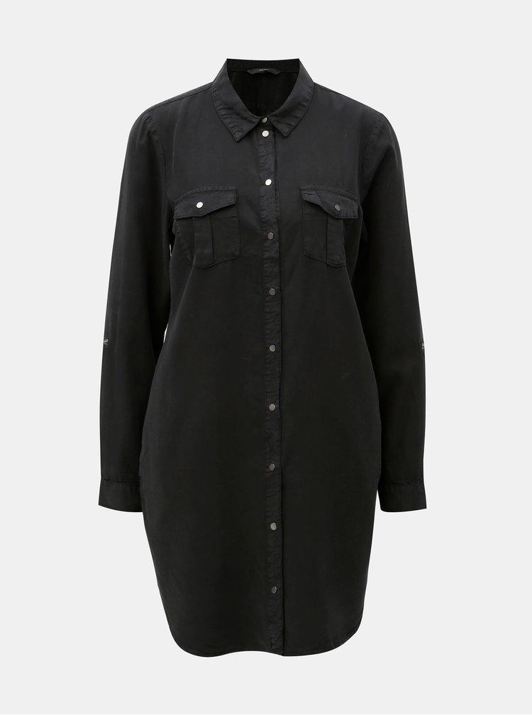 Čierne košeľové šaty s vreckami VERO MODA Silla