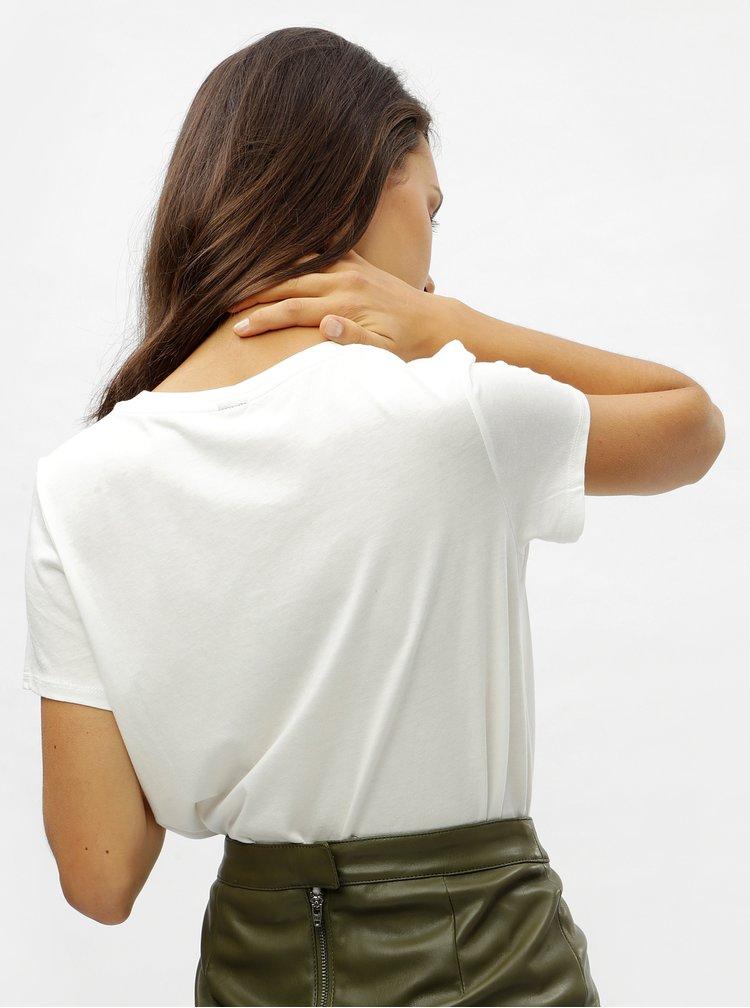 Biele tričko s kvetovanou šatkou VERO MODA Scarf