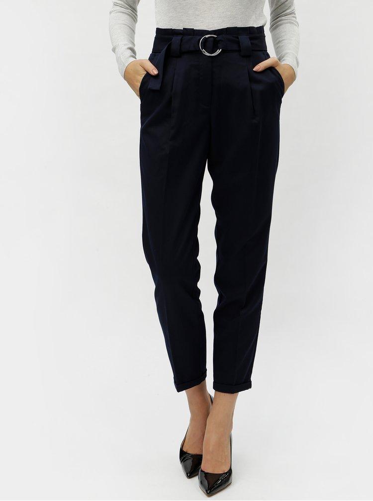 Tmavě modré zkrácené kalhoty s vysokým pasem VERO MODA Delfina