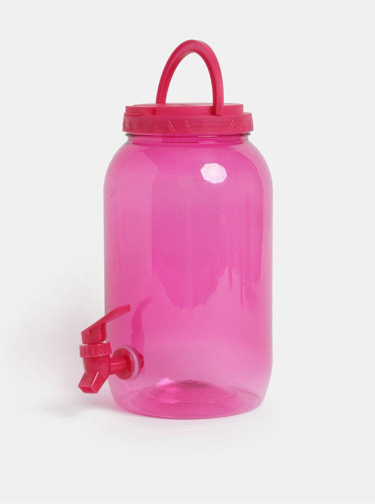 Bidon transparent roz din plastic cu robinet Kaemingk