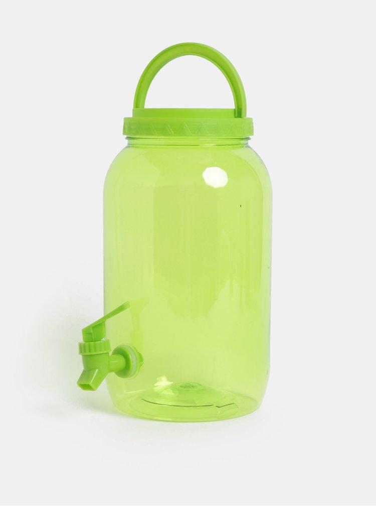 Zelená plastová transparentní nádoba s kohoutkem Kaemingk 3750 ml