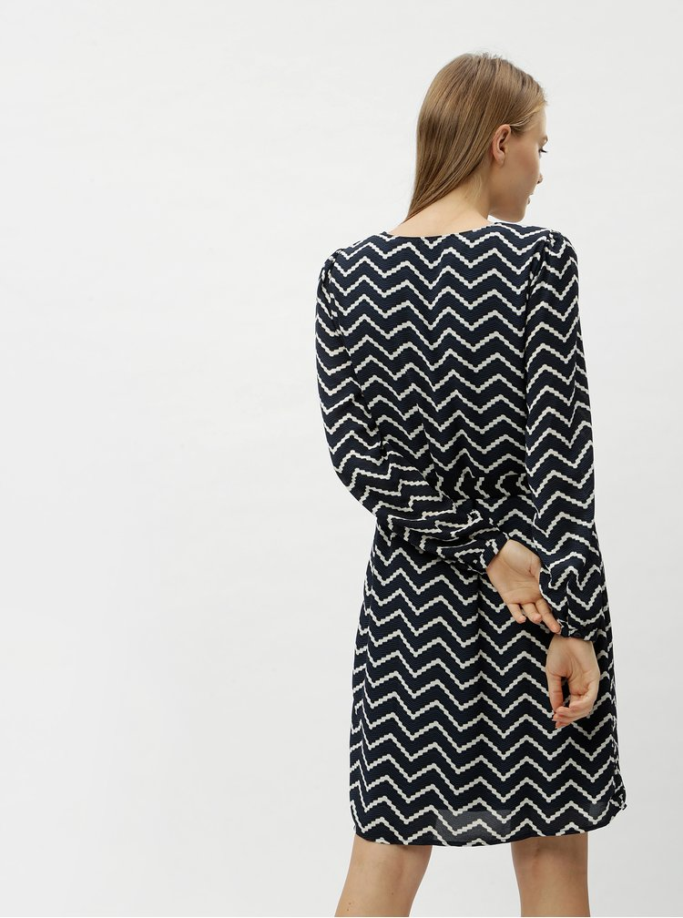 Tmavě modré vzorované šaty s páskem na zavazování VERO MODA Verona