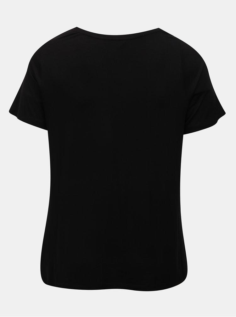 Tricou negru cu print si maneci scurte Dorothy Perkins Curve