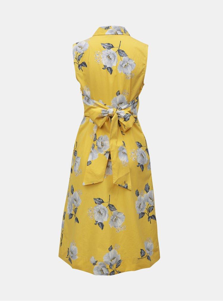Žluté dámské květované šaty bez rukávů Cath Kidston