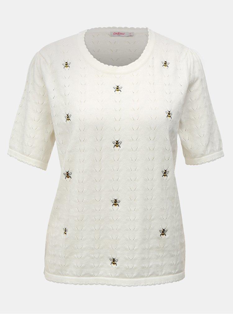 Krémový dámský lehký svetr s krátkým rukávem a výšivkami Cath Kidston
