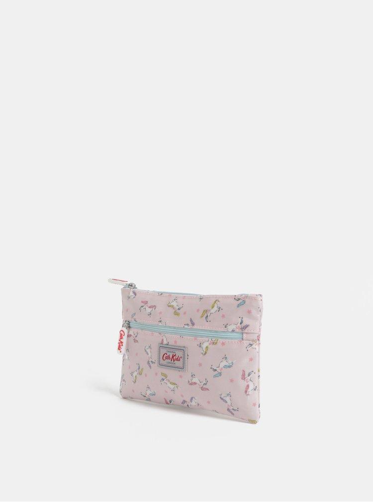 Světle růžové holčičí pouzdro se vzorem jednorožců Cath Kidston