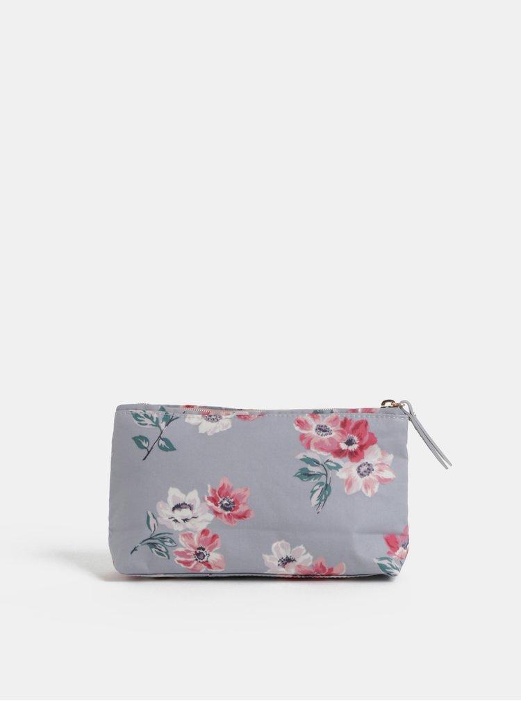 Šedá květovaná kosmetická taška na zip Cath Kidston