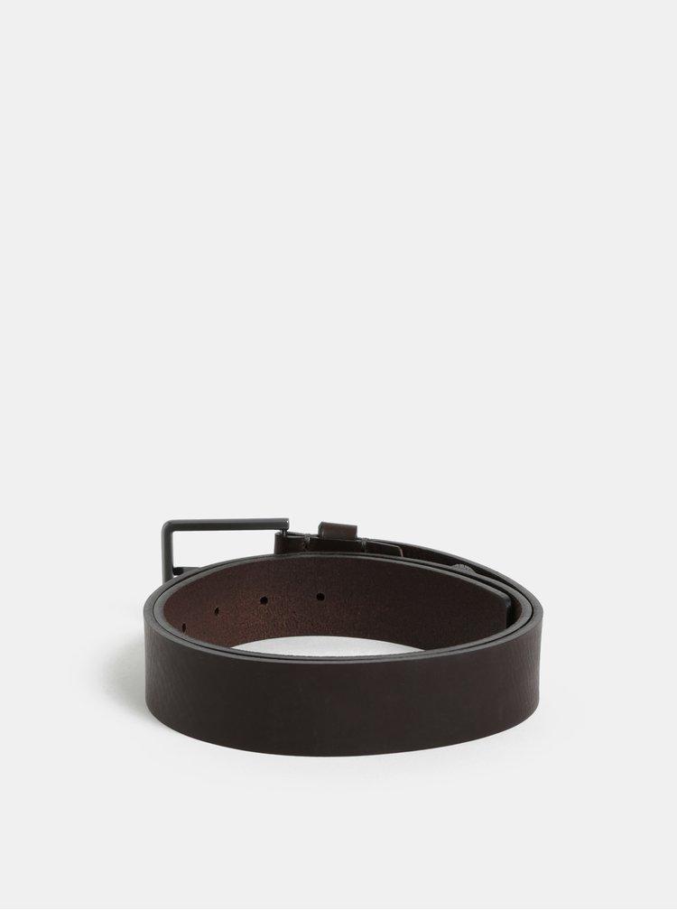 Tmavě hnědý pánský kožený pásek Calvin Klein Jeans