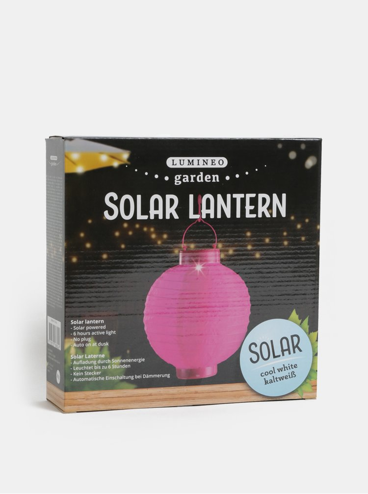 Tmavě růžový solární lampión Kaemingk