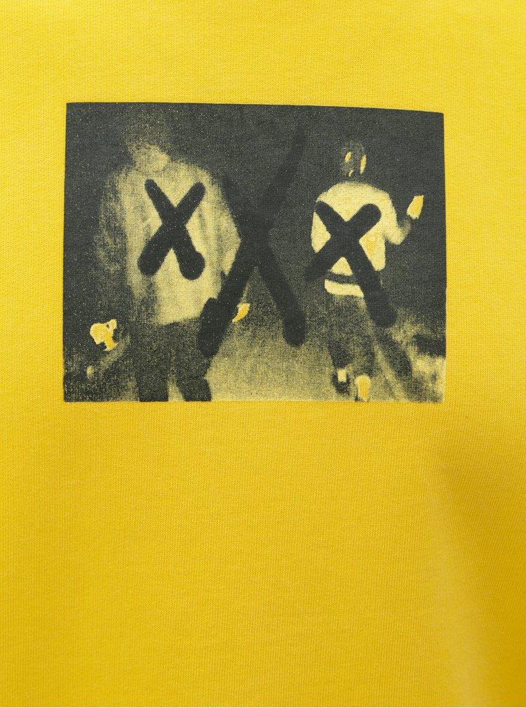Žlutá mikina s potiskem ONLY & SONS Wuk