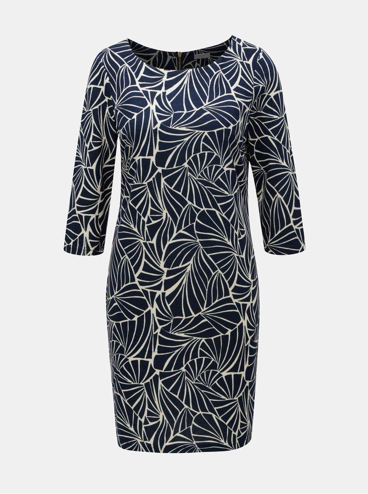 Modré vzorované šaty s 3/4 rukávem VILA Tinny