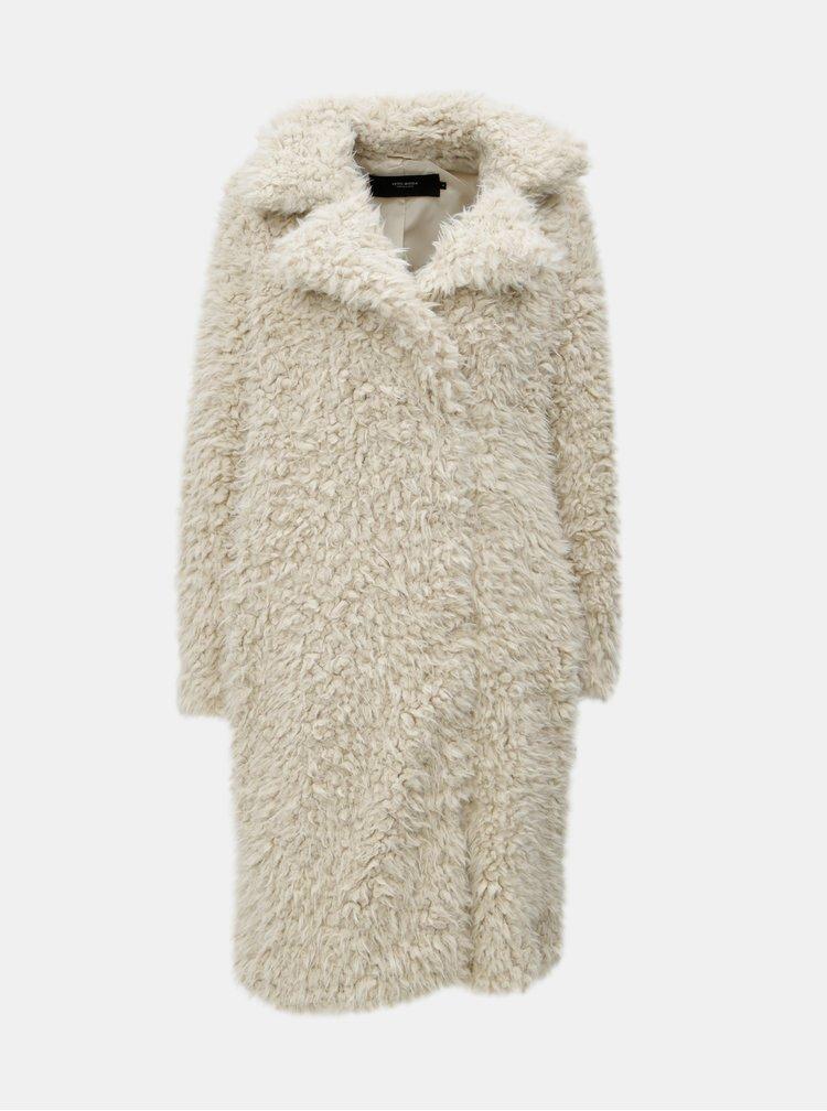 Krémový kabát s umelým kožúškom VERO MODA