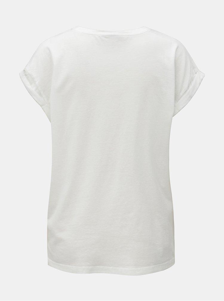 Tricou alb cu print stralucitor VILA Tiger Attack