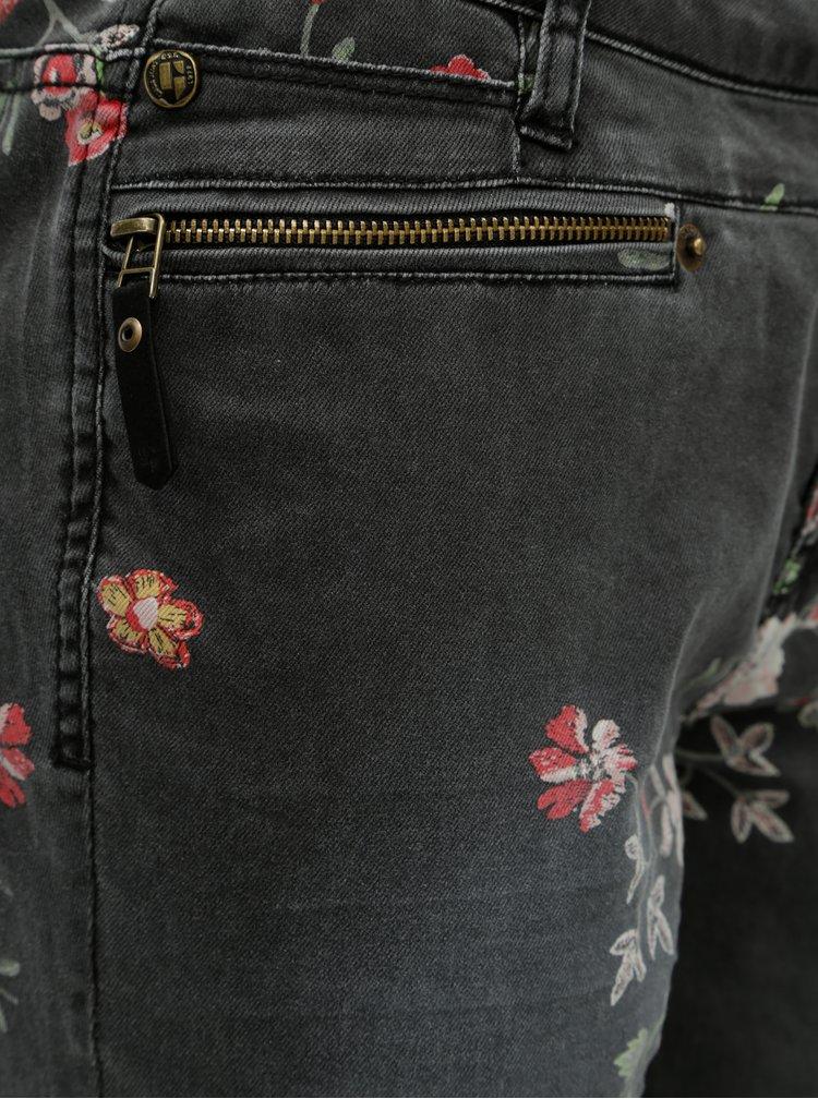 Šedé dámské slim fit džíny s květinovým potiskem Garcia Jeans